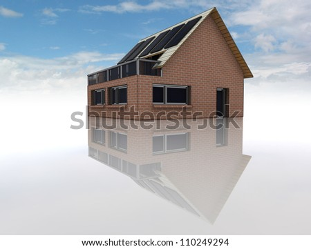 conceptual rendering of new sustainable brick house with solar pannels on the roof with floor reflections on the ground and blue cloudy sky