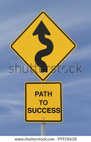 Conceptual road sign indicating a winding path to success