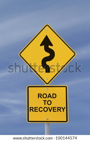 Conceptual road sign indicating a winding road to recovery