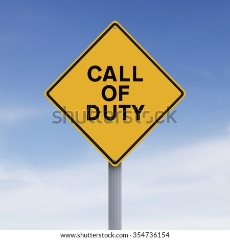 Conceptual road sign indicating Call of Duty
