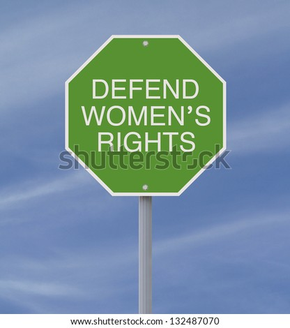 Conceptual road sign on women's rights - stock photo