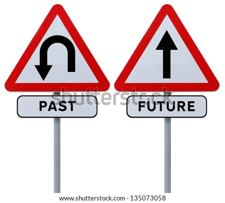 Conceptual road signs on the past and the future - stock photo