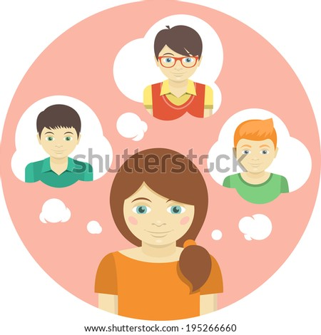 Conceptual round illustration of a girl thinking about several boys - stock photo