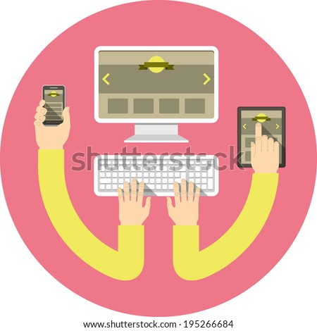 Conceptual round illustration of responsive web design with computer, tablet and smart phone connected with hands - stock photo