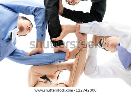 Conceptual scheme of complex business relationships - stock photo