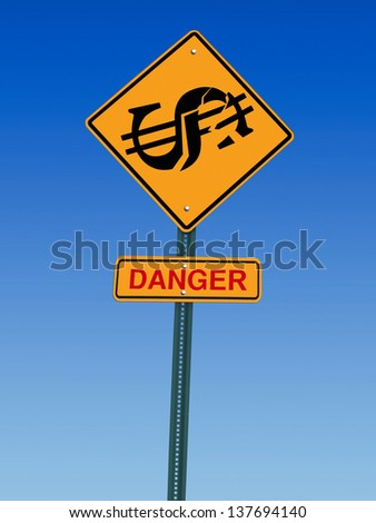 conceptual sign with dollar symbol and danger warning over blue sky - stock photo