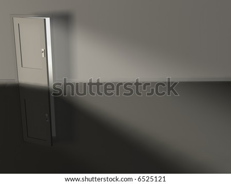 Conceptual slightly opened door with rays - rendered  in 3d