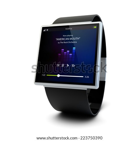 conceptual smart watch with music app on the screen isolated on white background - stock photo