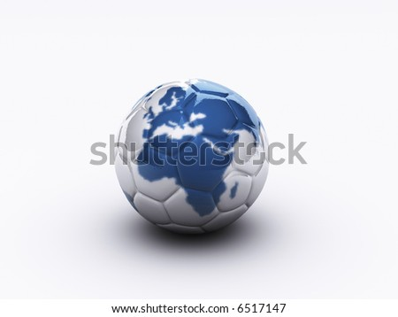 Conceptual soccer ball with Europe and Africa continents map - 3d render