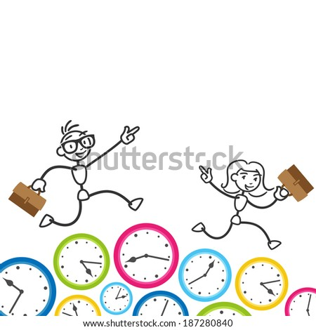 Conceptual stick figure illustration: Happy and eager business stickman and woman running on clocks.