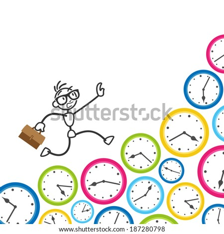 Conceptual stick figure illustration: Stickman running on clocks, being stressed, rushing to meet deadlines and keep appointments.