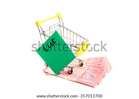 Conceptual studio shot of a bunch of malaysian banknotes filling a yellow shopping cart with green memo paper on white background - stock photo