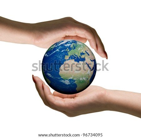 "Conceptual symbol  human hands surrounding the Earth globe.  Isolated on white background.  ""Elements of this image furnished by NASA"""