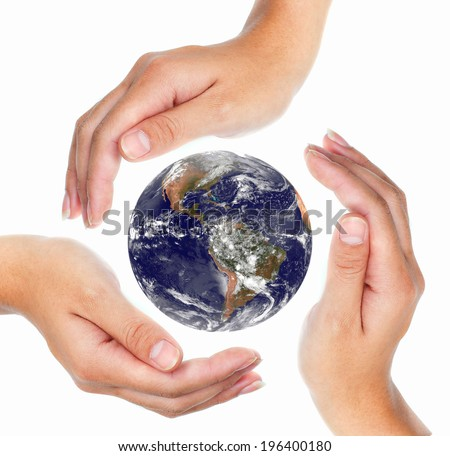 conceptual symbol human hands surrounding the earth globe