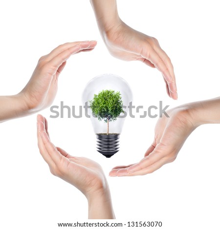Conceptual symbol of human hands making a circle and eco light bulb on white - stock photo