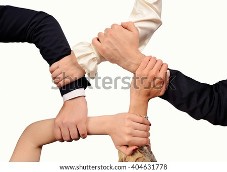 Conceptual symbol of human hands  on white background with a copy space