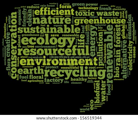 Conceptual tag cloud containing words related to ecology, environment, pollution, renewable resources, recycling, conservation, efficiency in the form of a callout on black background - stock photo