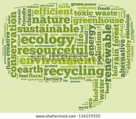 Conceptual tag cloud containing words related to ecology, environment, pollution, renewable resources, recycling, conservation, efficiency in the form of a callout  on green background - stock photo