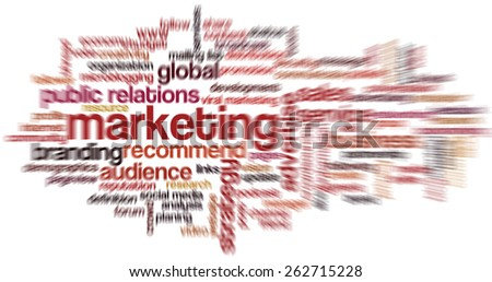 Conceptual tag cloud containing words related to marketing, business, advertising, social media, blogs, social networks and Internet. Radial zoom blur. - stock photo