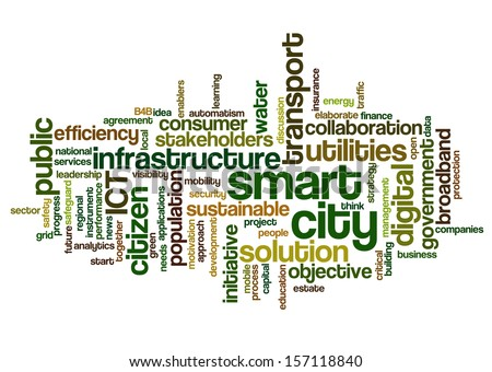 Conceptual tag cloud containing words related to smart city, digital city, infrastructure, ICT, efficiency, energy, sustainability, development and other ICT related terms - stock photo