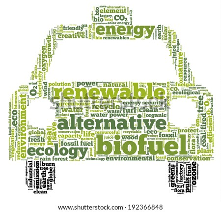 Conceptual tag cloud in the shape of the car containing words related to biofuel, ecology, environment, pollution, renewable resources, recycling, conservation, efficiency... - stock photo