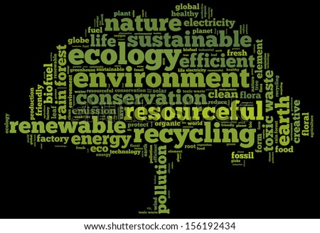 Conceptual tag cloud in the shape of the green tree on black containing words related to ecology, environment, pollution, renewable resources, recycling, conservation, efficiency... - stock photo