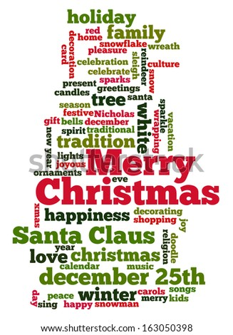 Conceptual Tag Cloud Words Related Christmas Stock Illustration ...