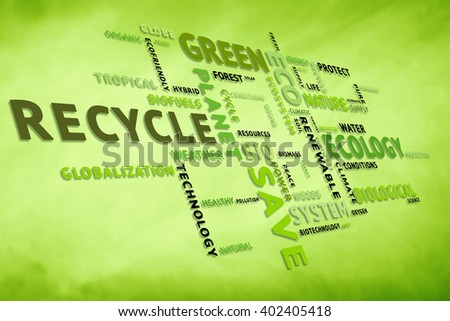 Conceptual tags or words cloud on blurred yellow green background containing words related to ecology, environment, ecosystem, nature, etc. Square composition used. Illustration. - stock photo