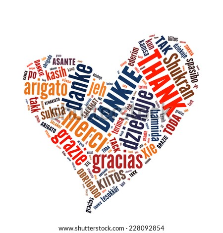 Conceptual text word cloud with Thank You many languages - stock photo
