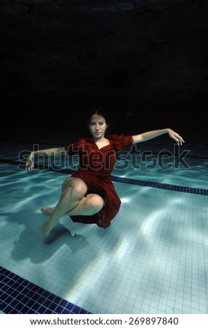 Conceptual Underwater Fashion  - stock photo