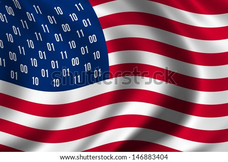 Conceptual USA flag design with binary digits instead of the traditional stars - stock photo