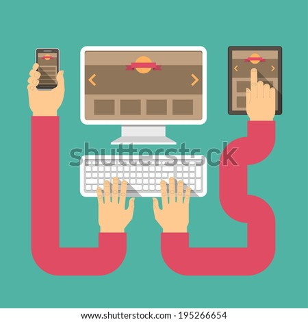 Conceptual vector illustration of responsive web design with computer, tablet, and smart phone connected with hands - stock photo