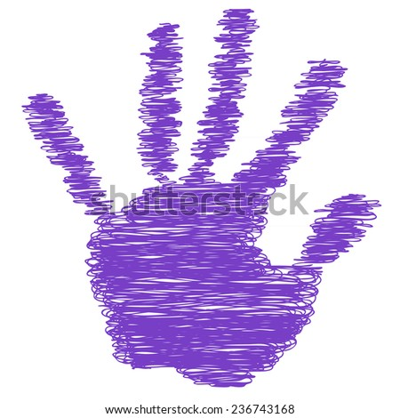 Conceptual violet, purple painted drawing hand shape print isolated on white paper background for handmade or manual, art, line, children, scribble, education, grungy or sketch design made by a child - stock photo