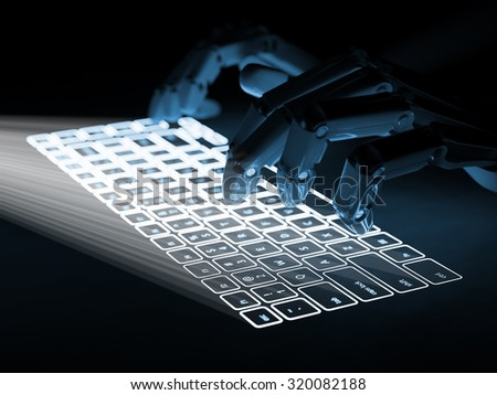 Conceptual virtual keyboard projected onto surface and hands of robot typing on it - stock photo