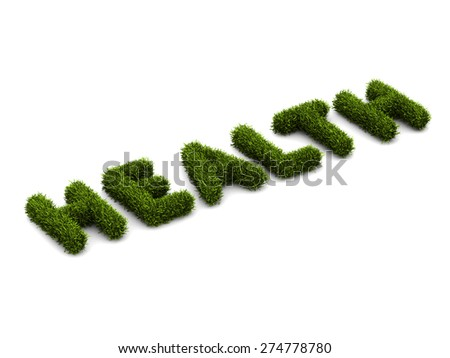 conceptual word health covered grass - stock photo