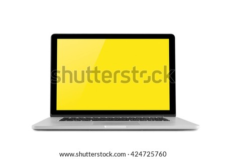Conceptual work spacea, Laptop isolated blank screen with clipping path. - stock photo