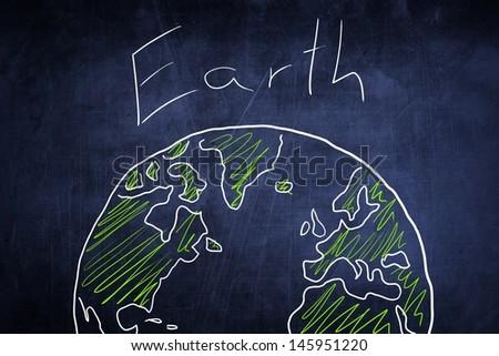 Conceptual world globe sketch on chalkboard, ecology idea - stock photo