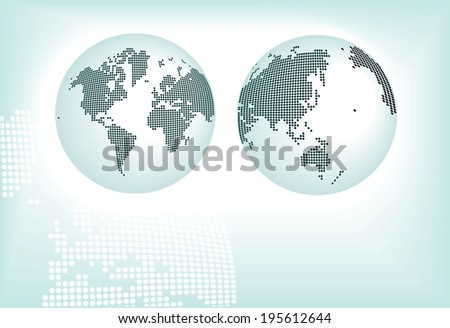 conceptual world map from round pixels . - stock photo