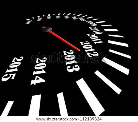 Conceptual 2013 year speedometer - stock photo