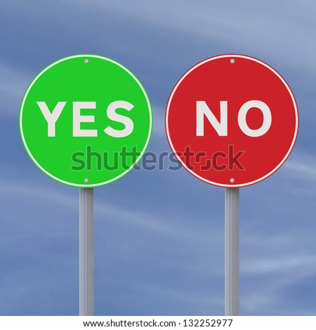 Conceptual Yes and No road signs