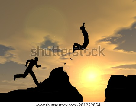 Conceptual young 3D man or businessman silhouette jump happy from cliff over  gap sunset or sunrise sky background as metaphor to freedom, nature, mountain, success, free, joy, health or risk