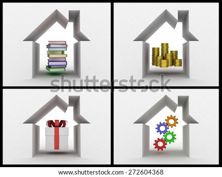 Conceptually books of a coin a gift and gears under a roof, a collage - stock photo