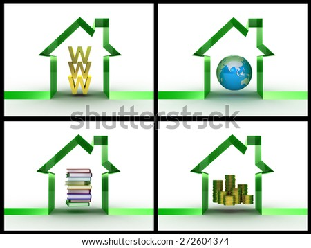 Conceptually WWW money the globe and books under a roof, a collage - stock photo