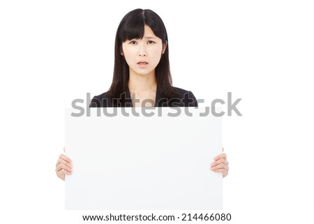 concerned businesswoman with Bulletin Board