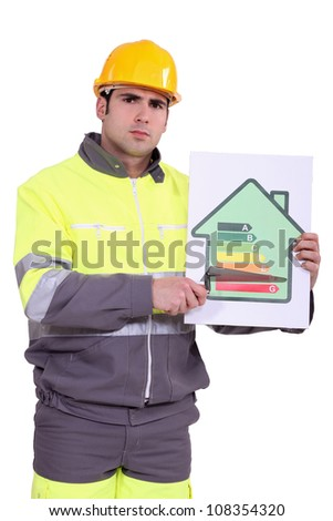 Concerned construction worker - stock photo