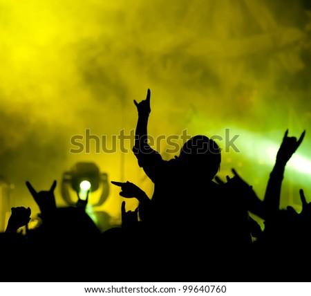 concert. contour of the fans - stock photo