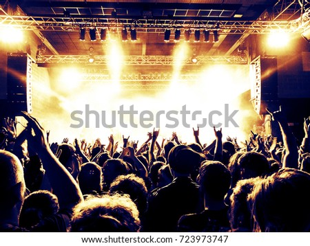 Concert crowd in front of a live stage, raised hands and smart phones are visible among silhouette heads.