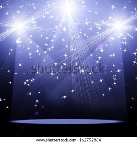 concert spot lighting over dark background. Christmas background - stock photo