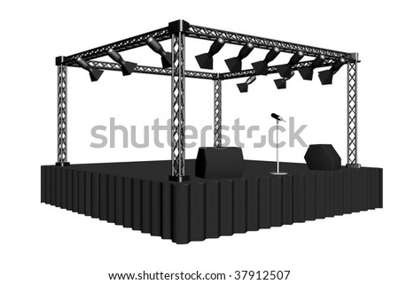 concert stage. The white background can be completely replaced. - stock photo