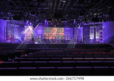 Concert stage with lights and digital panels - stock photo